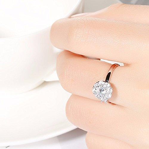35723dc0f7a7e Envio gratis QIANDI Anillo de plata de ley 925 con circonita cúbica de  cristal giratorio para