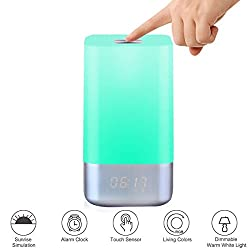 seenda Wake-Up Light, Rechargeable Led Bedside Lamp with Touch Sensor Table Lamp, Dimmable Warm Light, Vibrant Atmosphere RGB and Time Display Alarm Clock Lamp