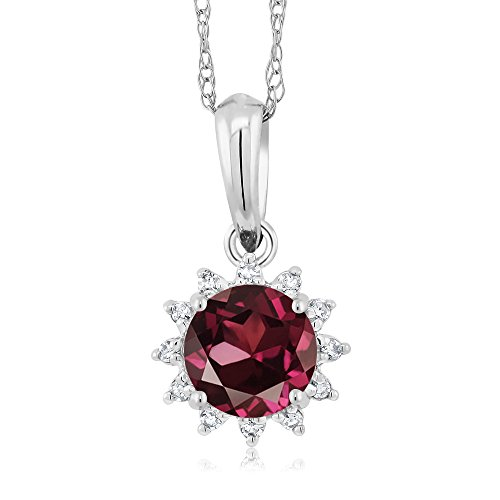 18K White Gold 0.60 Ct Round Red Rhodolite Garnet Diamond Pendant With Chain by Gem Stone King