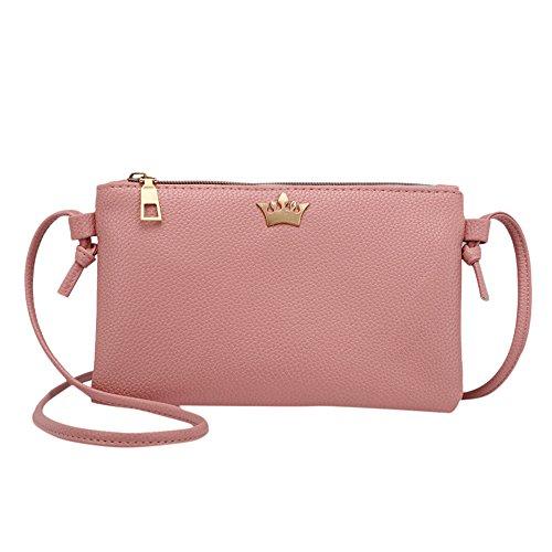 Della Donna Puro A Colore donna Borse Rosa Messenger In Sacchetto Tracolla Crossbody Borsa Moneta Spalla Pelle Mini Bag Ginli f6xtRFnq