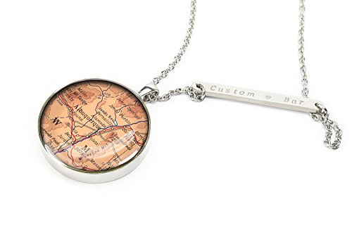 Handmade engraved jewelry 1966 Albuquerque map necklace New Mexico jewelry silver gift box