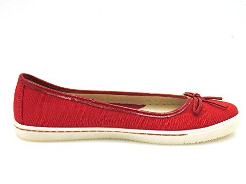 Via Uno Rouge Ballerines en toile Retro Chaussures d'été femmes 20840201 xoUXXt
