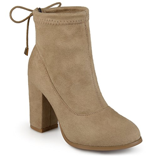 Taupe Back Covered Tie High Heel Womens Collection Heel Block Faux Journee Booties Suede qIwt76