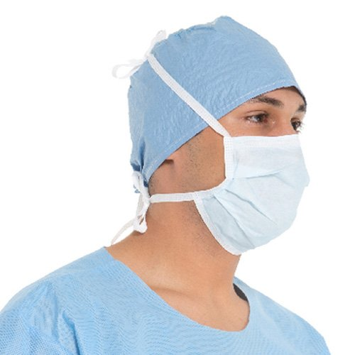 Halyard Health 48201 Classic Surgical Mask, Pleat Style with Ties, Blue (6 Dispensers of 50, 300 Total)