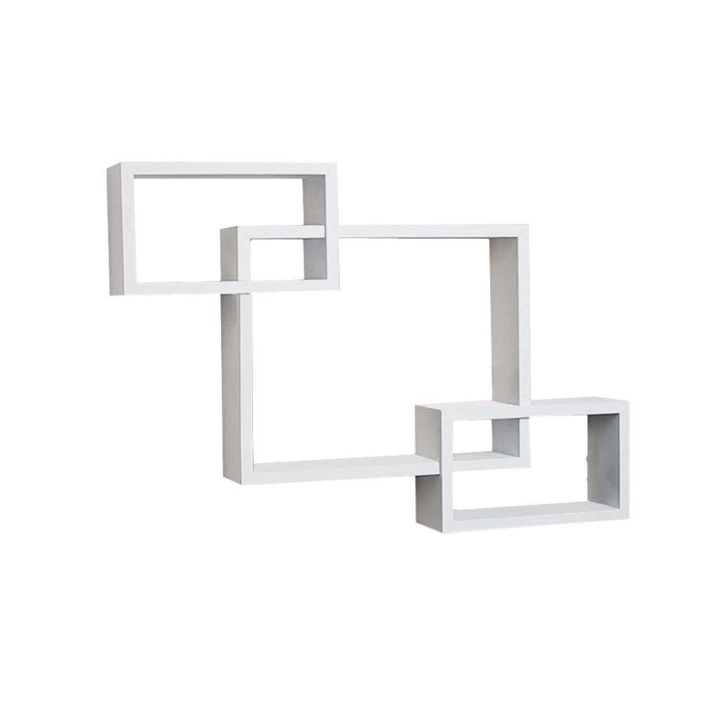 Wall Shelf ,WYTong 3 SetsWall Rectangular Three Shelf,Intersecting Square Wood Shelve Rack Suitable for living room, dining room, bedroom, bathroom, kitchen, office, hotel (White)