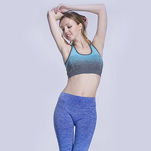 Sronjn Mujer Yoga Deportes Correas Del Sujetador Bralette de Estiramiento Azul # 2
