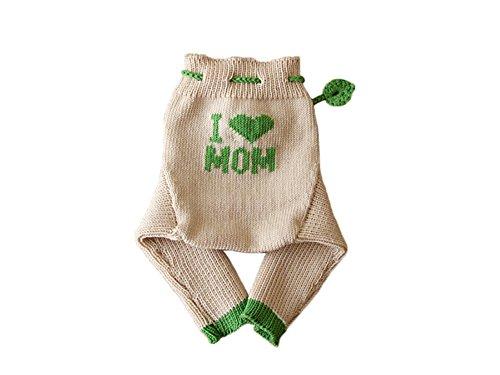100% merino wool baby soaker diaper cover longies (M, Beige-Green)