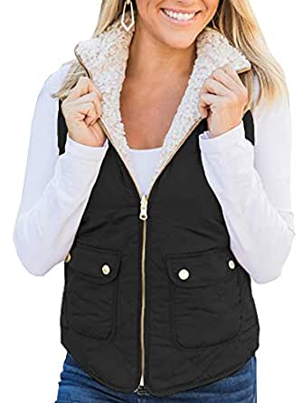Ivay Womens Quilted Shearling Vest Faux Fur Sleeveless Jackets Lined Puffer Winter Coats Gilet Black