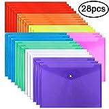 EOOUT Poly Envelope Folder 28pcs 8 Color Clear