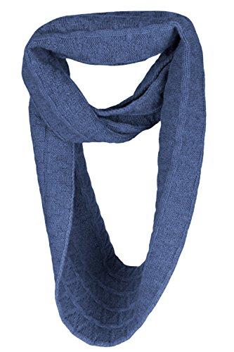Love Cashmere Ladies Zig-Zag 100% Cashmere Infinity Scarf Snood - Denim Blue - made in Scotland