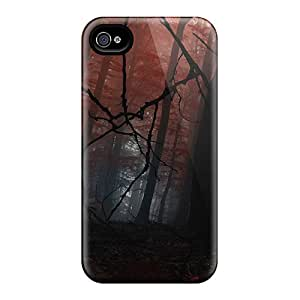 Shock-dirt Proof Red Forest Three Case Cover For Iphone 4/4s