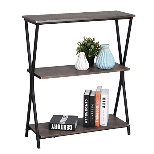 (HOMY CASA 3 Tier Bookshelf Home Office Storage Shelves Industrial Bookcase,MDF Wood with Metal Frame,Brown)