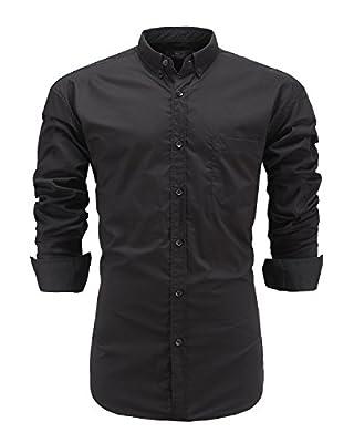 Emiqude Men's Casual Long Sleeve Solid Button Down Dress Shirt