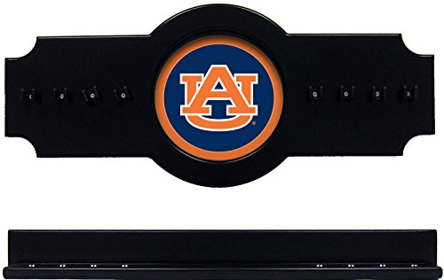 (NCAA Auburn Tigers AUBCRR100-B 2 pc Hanging Wall Pool Cue Stick Holder Rack - Black)
