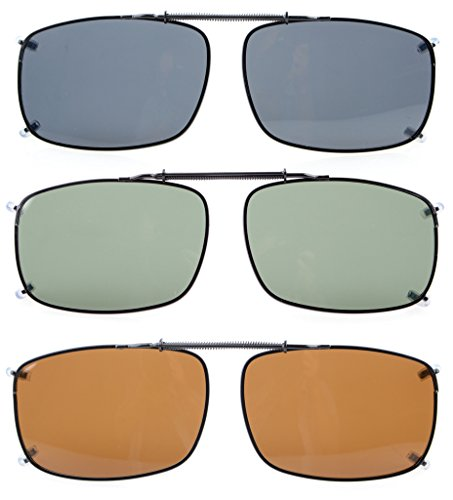 Eyekepper Large Lens 3-pack Clip-on Polarized Sunglasses 2 1/4
