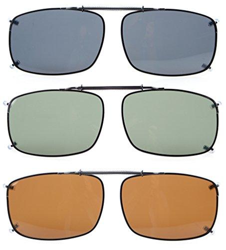 Eyekepper Large Lens 3-pack Clip-on Polarized Sunglasses 2 1/4'x1 1/2'