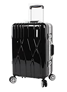 "Andiamo Luggage Aluminum Frame 20"" Carry On Zipperless Suitcase with Spinner Wheels (20in, Black)"