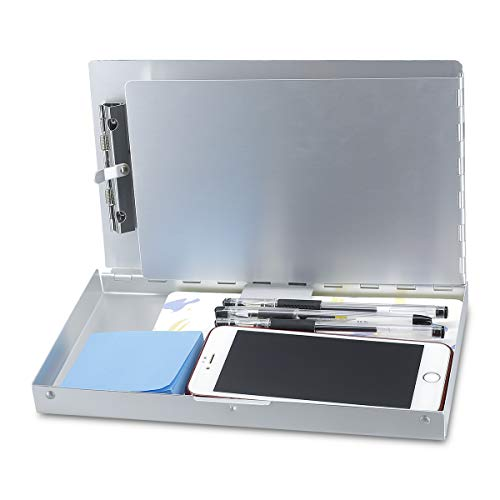 Small Aluminum Clipboard with Storage (Memo Size) Form Holder Portfolio Aluminum Metal Binder Heavy Duty with High Capacity Clip Posse Box - Clipboard for Office Business Professionals Stationer