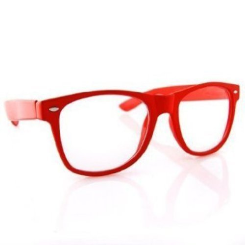 Clear Lens Wayfarer NERD Sunglasses Color Frame - - Label Red Eyewear