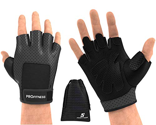 ProFitness Weight Lifting Gloves (Fingerless) Power Lifting, Cross Training, Gym Workout Wear | Padded, Breathable Comfort | Non-Slip Silicone Grip, Adjustable Wrist Strap | for Men & Wome