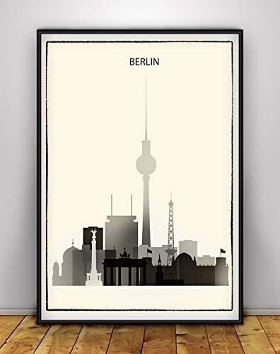 Berlin Poster, Berlin Print, Berlin Skyline Art, Black and White, Germany Cityscape, Deutschland Home Wall Decor, Black & White City Poster, Unframed print