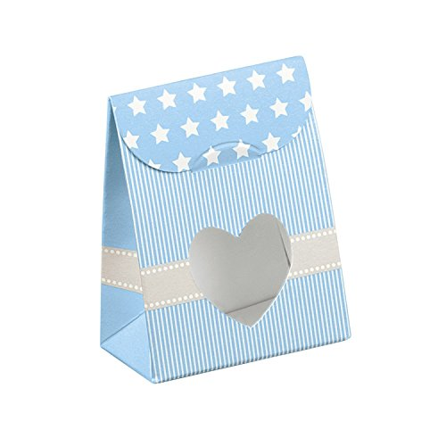Decorative Gift Favor Box with Lid Heart Cutout, Set of 12, Best Designer Quality for Birthday, Wedding, Parties, Easy Fold, No Assembly Required, by Giovanni Grazielli, Blue Stars'n'Bars
