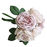 Artificial Flowers, MaxFox 5 Heads Peony Silk Fake Bridal Bouquet Rose Leaf Flower Home Office Wedding Party Decor (Pink)