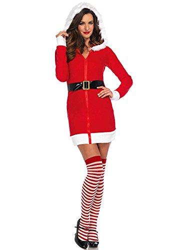 Santa Leg Costumes Avenue (Leg Avenue Women's Cozy Santa, Red/White,)