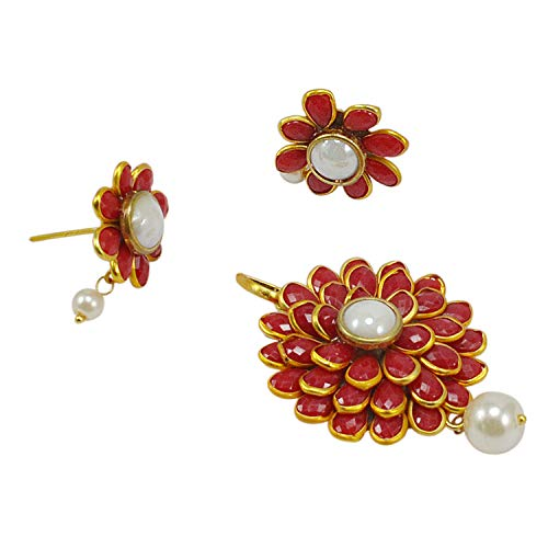 Silvestoo Jaipur Red Onyx & Pearl Gold Plated Earring & Pendant for Women -