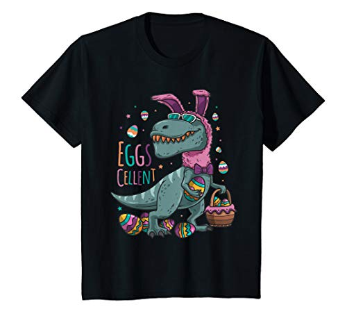 Kids Easter Basket Stuffers T Rex Easter Bunny Eggscellent TShirt ()