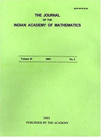 Journal of the Indian Academy of Mathematics: Amazon com
