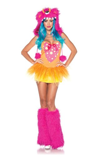 Leg Avenue Women's 2 Piece Shaggy Shelly Monster Costume, Pink/Yellow, Small/Medium -