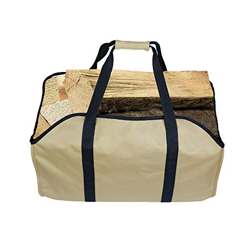YELAIYEHAO Premium Firewood Log Carrier & Tote Bag - Extra Large Durable - Best for Fireplaces - Wood Stoves - Firewood - Logs - Camping - Beaches - Landscaping! (LARG, darkkhaki)