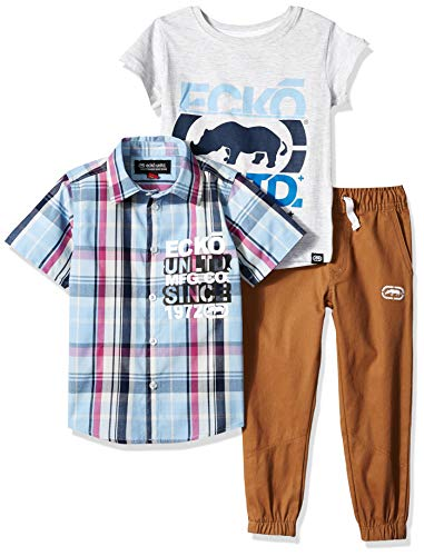Marc Ecko Boys Sleeve Woven Shirt and Plaid Short Set