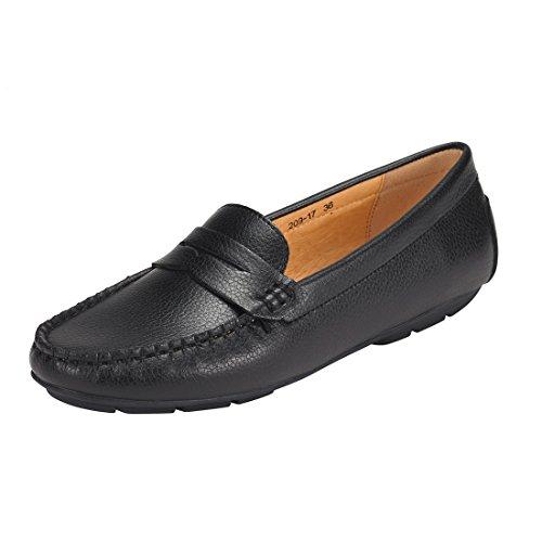 JENN ARDOR Penny Loafers for Women: Vegan Leather Slip-On Comfortable Driving Moccasins Ballet Flats-LBlack 8 B(M) US