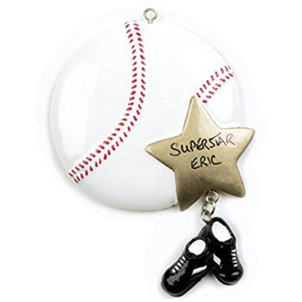 ornaments by elves personalized baseball christmas ornament for tree 2018 sports ball with gold star - Baseball Christmas Ornaments