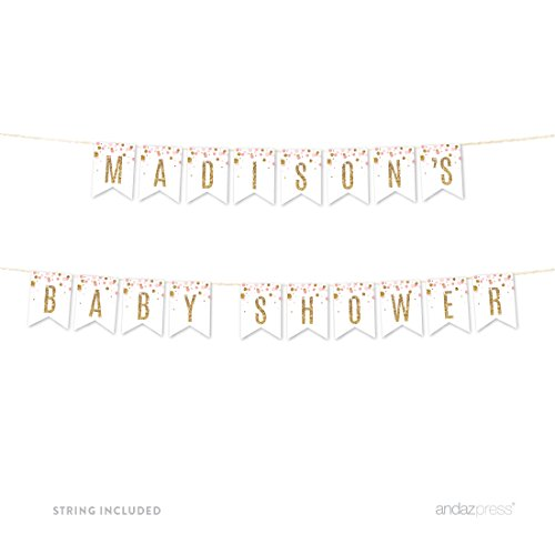 Andaz Press Blush Pink Gold Glitter Girl Baby Shower Party Collection, Personalized Hanging Pennant Party Banner with String, Madison's Baby Shower, 8-Feet, 1 Set, Custom Name]()