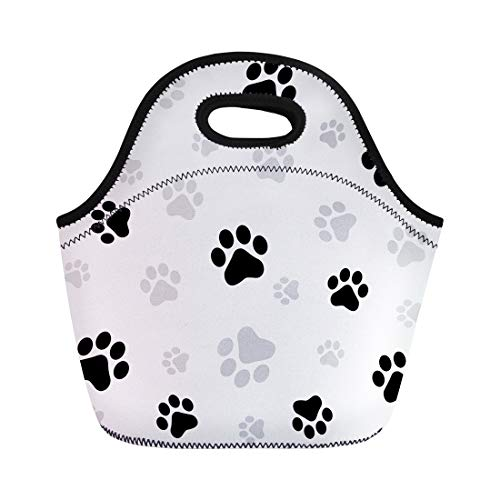 Semtomn Lunch Tote Bag Colorful Pawprint Dog Paw Pattern Cat Footprint Pet Animal Reusable Neoprene Insulated Thermal Outdoor Picnic Lunchbox for Men Women