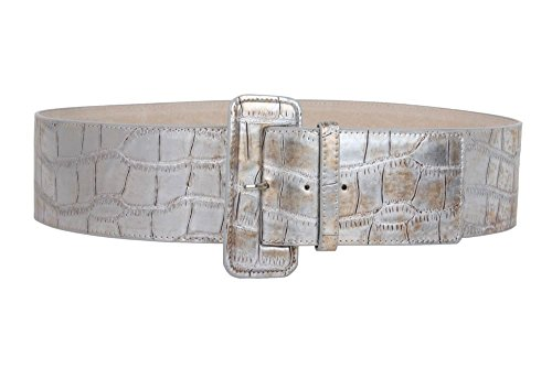 3 Inch Wide High Waist Croco Print Patent Leather Fashion Belt Size: S/M - 32
