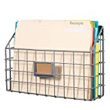Wall35 Rivista Multipurpose Wall Mounted Farmhouse Design Basket - Wide Magazine Rack Metal Wire Gray