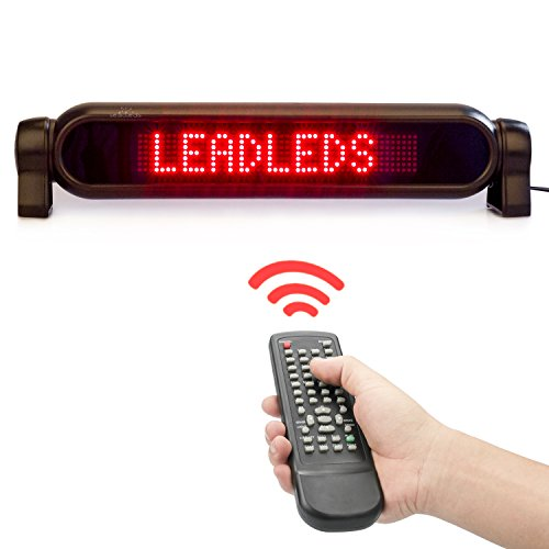 Leadleds Dc12v Led Car Rear Window Sign Board Scrolling Red Message Display Board Led Banner With Remote Controller And Cigar Lighter   Fast Programmable