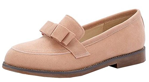 Easemax Womens Dressy Low Heels Slip On Faux Suede Oxford Con Fiocchi Rosa