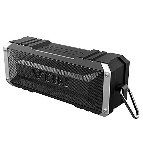 Vtin 20W Bluetooth Speaker, Shockproof Outdoor Speaker with 30H Long Playtime, Loud Stereo Sound, IPX5 Waterproof, Detachable Hook, Portable Bluetooth Speaker for Travel, Backyard, Pool, Home Party