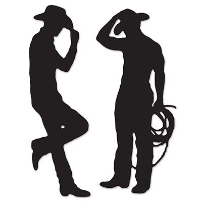 Country Western Decorations - Beistle S54225AZ2, 4 Piece Cowboy Silhouettes,