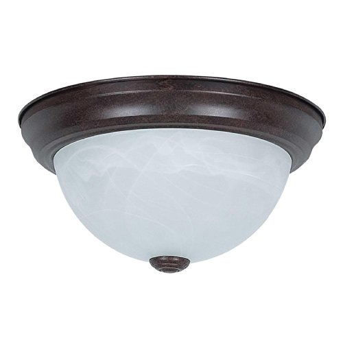 Sunset Lighting F7630-62 Flush Mount with Faux Alabaster Glass, Rubbed Bronze - Alabaster Faux