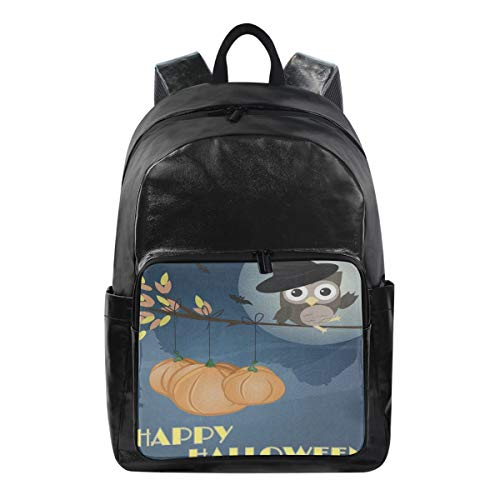 Casual Lightweight Laptop Backpack,Owl Happy Halloween Durable Travel