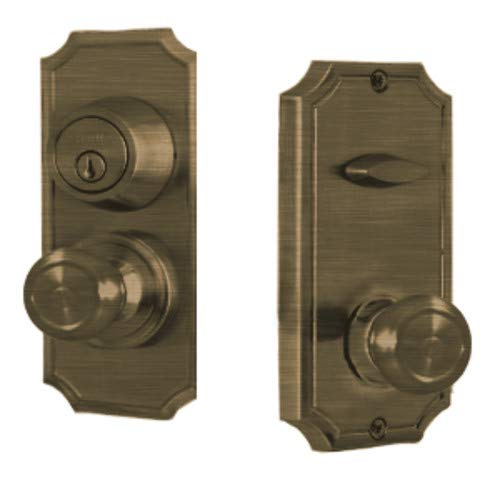 Weslock 1501Z Unigard Interconnected Entry Set with Panic Proof Function and Sav, Antique Brass