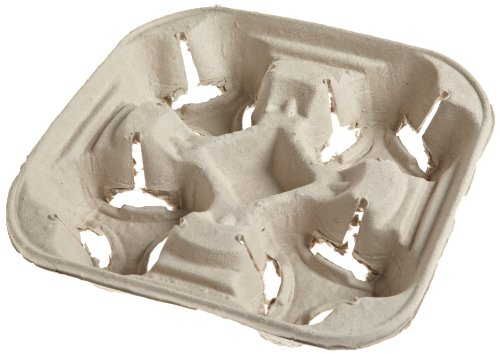 Huhtamaki 20939 8-1/4 Inch Width by 1-5/8 Inch Height by 8-1/4 Inch Depth Beige Color Strongholder Chinet Cup Holder Tray 150-Pack (Case of 2 packs) ()