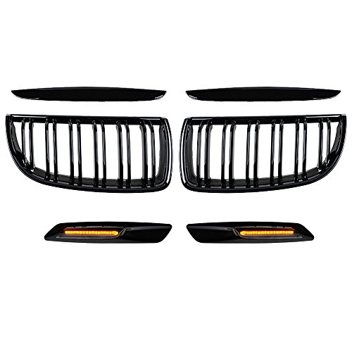 Glossy Black Double Line Kidney Grille + Black Side Marker Light Compatible with E90 3-Series 325 328 330 335 4-Door Pre-Facelift