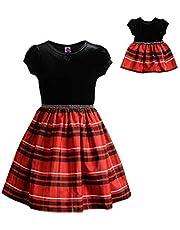 فستان Dollie & Me بناتي بأكمام قصيرة منسوج مخملي منقوش بمربعات مع زي دمية متطابق، متعدد الألوان، 5